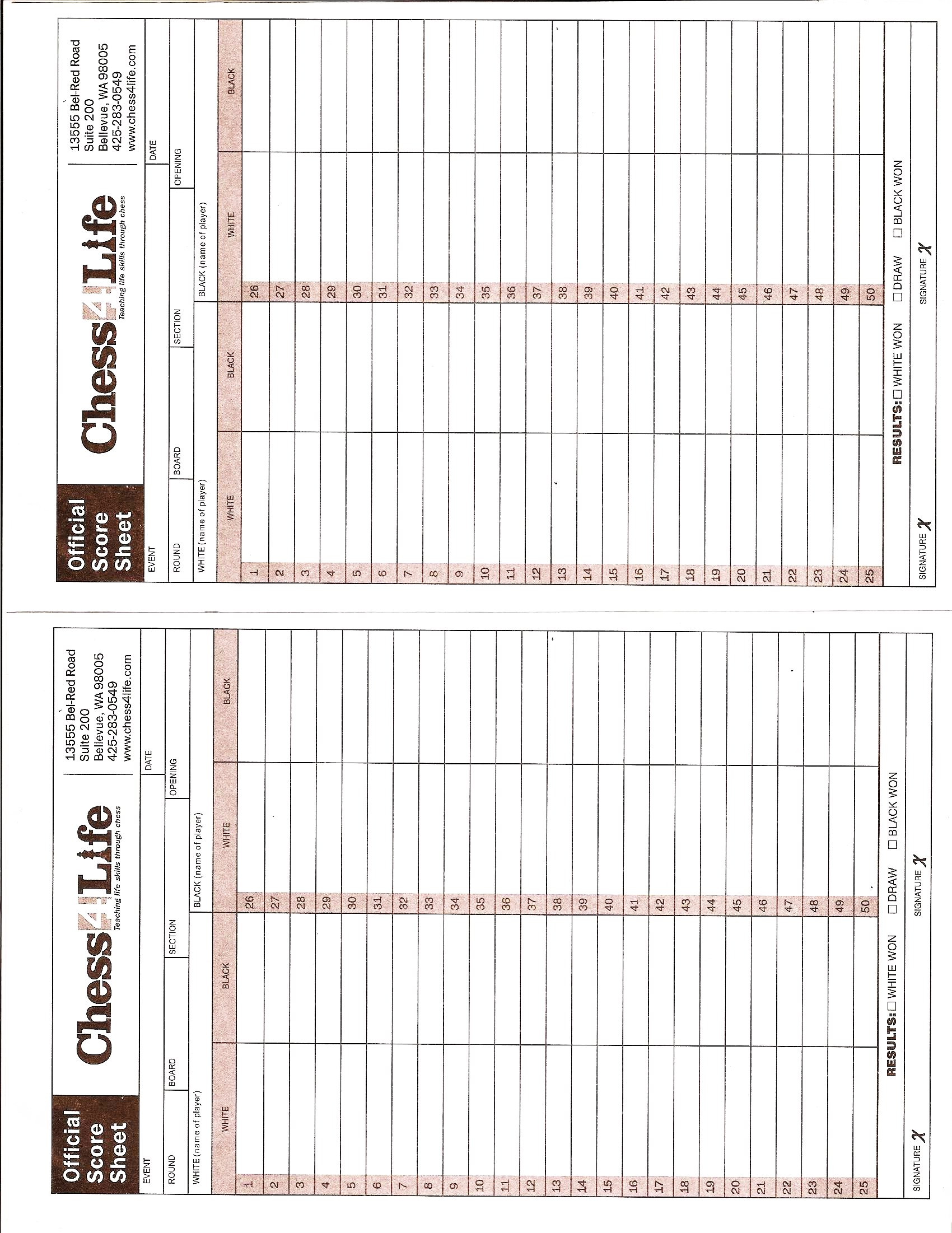 Chess Score Sheet | The Download Page Nw Washington Scholastic Chess